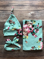 The June Swaddle Set, Mint Floral, green floral - Josie and James