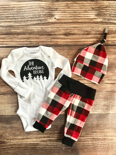 Red white and cream buffalo plaid newborn outfit, the adventure begins - Josie and James