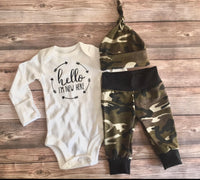 Hello I'm new Here Camo Outfit, newborn outfit, camouflage - Josie and James