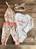 Silver Rose Newborn Girl Outfit, Baby Name Outfit, Spring - Josie and James