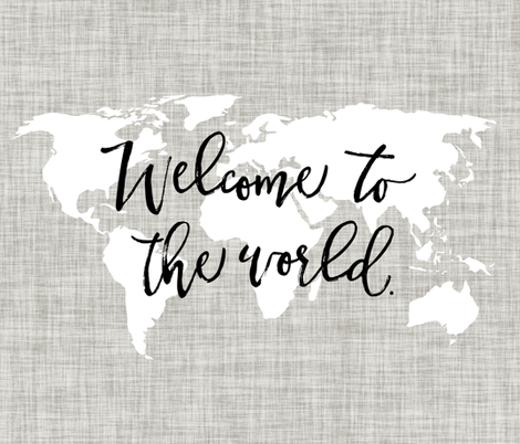 Welcome to the World Typography Blanket, Flat Lay blanket, milestone blanket