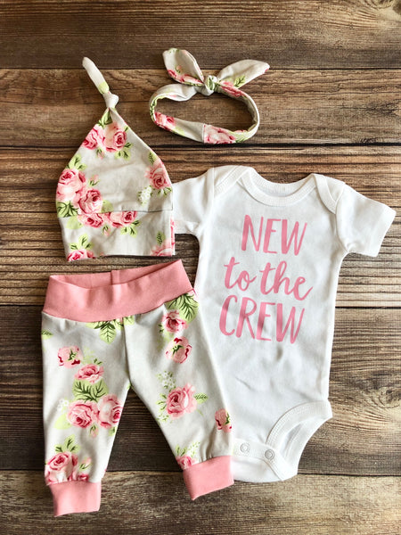 Silver Rose Newborn Girl Outfit, Baby Name Outfit, Spring, New to the Crew - Josie and James