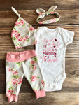 Handpicked From Heaven Silver Rose Newborn Girl Outfit, Spring