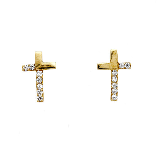 14K CZ Cross Screwback Studs