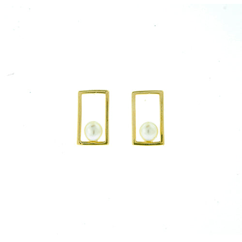 14KT Gold Rectangle Pearl Screwback Studs