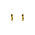 14KT Gold Hammered Rectangle Screwback Studs