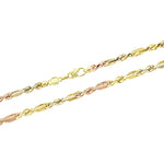 14K Tricolor 3mm Figarope Chain