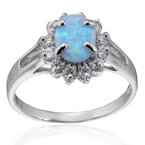 Blue Opal and CZ Sunflower Ring