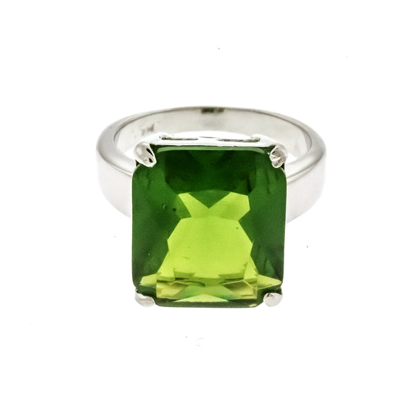 Green Peridot Rectangle CZ Ring