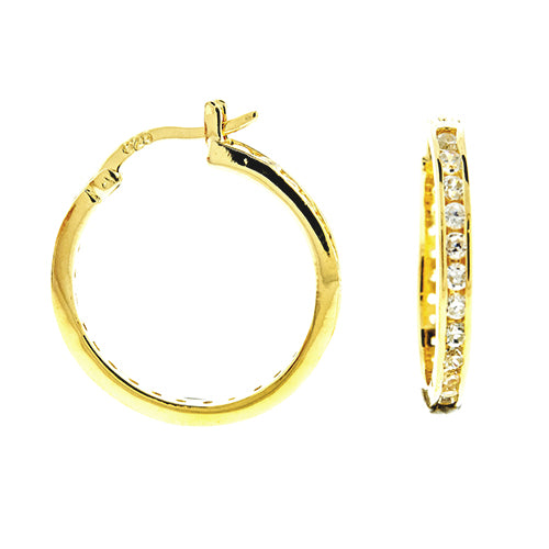Gold Vermeil CZ Eternity Hoops