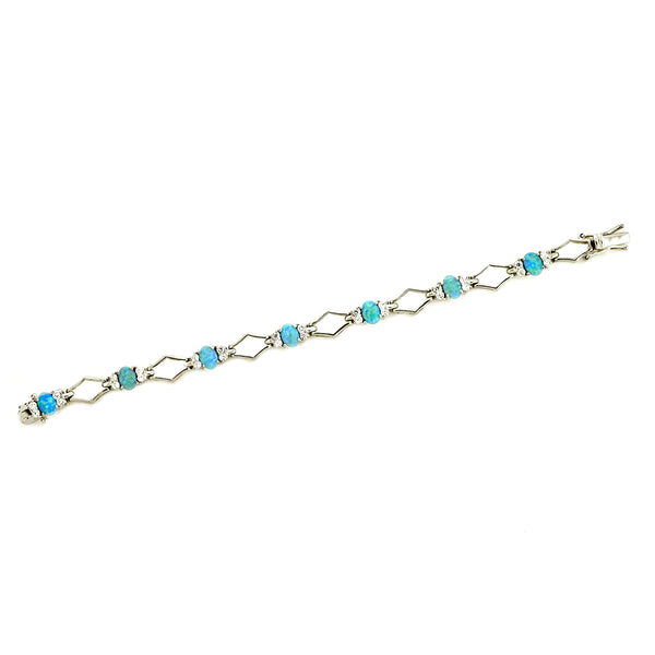 Opal and White CZ X Bracelet