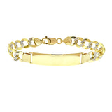 14K Mens Two Tone 7mm Curb ID Bracelet