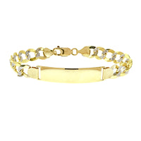 14K Mens Two Tone 5mm Curb ID Bracelet