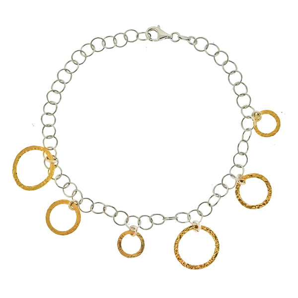 Gold Vermeil Dangling Circle Anklet