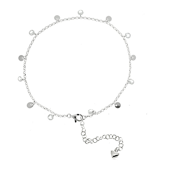Disc and Swarovski Crystal Dangling Anklet