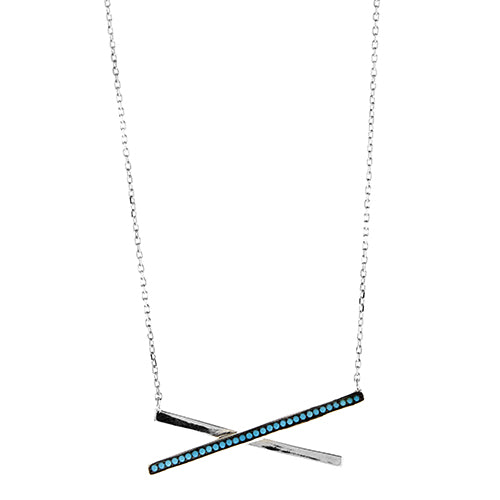 Blue Nano Turquoise X Necklace