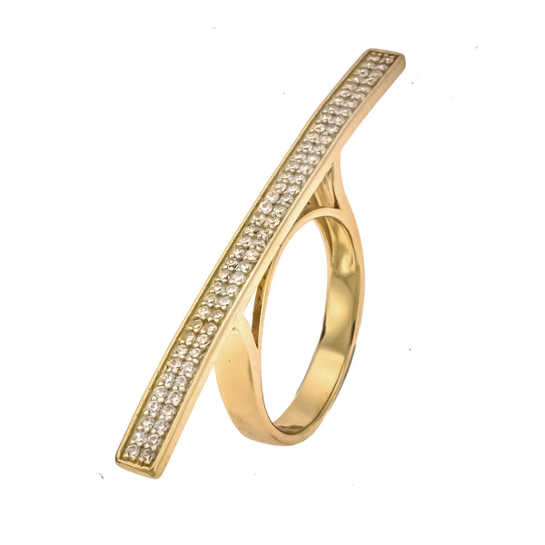 Gold Vermeil CZ Bar Ring
