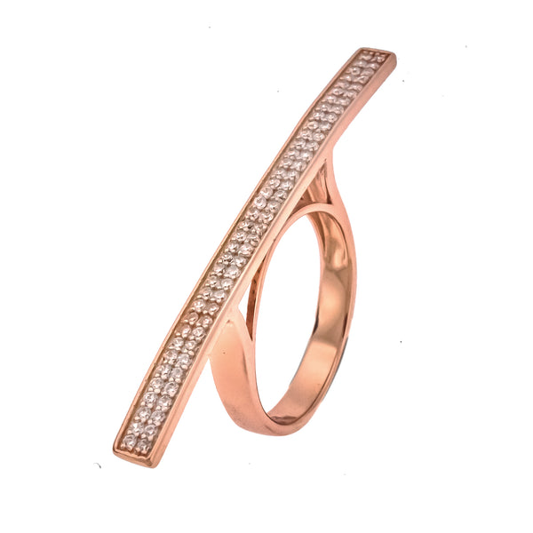 Rose Gold CZ Bar Ring
