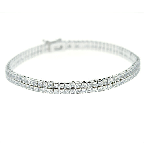 Two Strand Princess Cut Bracelet