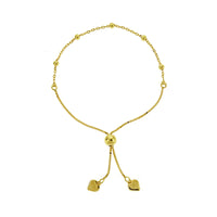 Gold Bead and Link Adjustable Bracelet