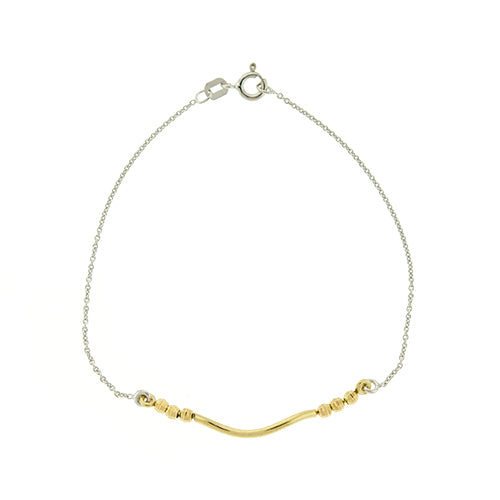 Gold Vermeil DC Bead and Tube Bracelet