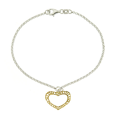Gold Vermeil Link with Heart Bracelet