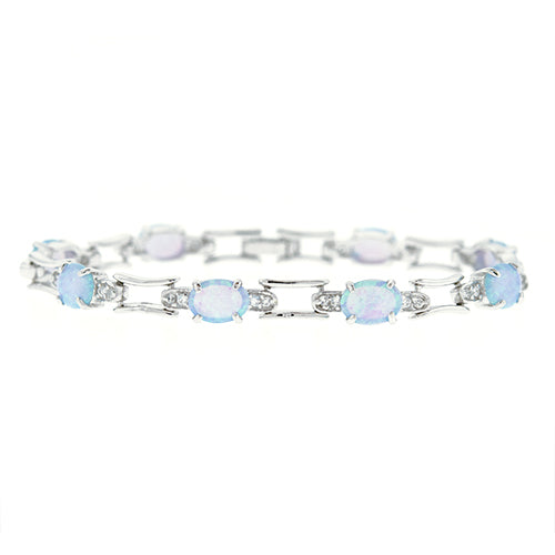 Oval Blue Opal and CZ Link Bracelet