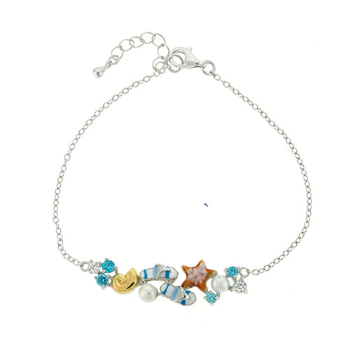 CZ and Pearl Sea Life Bracelet