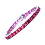 6mm Princess Cut Ruby CZ Bracelet