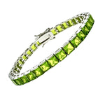 6mm Princess Cut Peridot CZ Bracelet