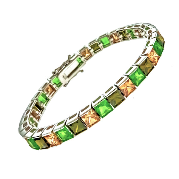 Green CZ and Champagne Princess Cut Bracelet