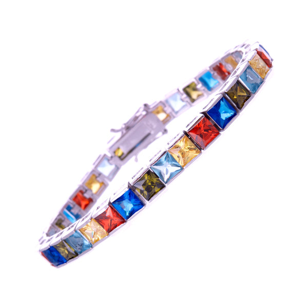 6mm Princess Cut Multicolor CZ Bracelet