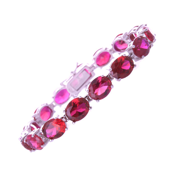 11mm Oval Ruby CZ Bracelet