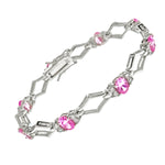 Pink and White CZ X Bracelet