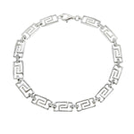 CZ Greek Key Link Bracelet