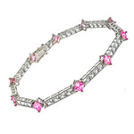 Pink and White CZ Princess Cut Bracelet