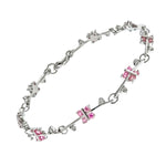Pink and White Butterfly CZ Bracelet