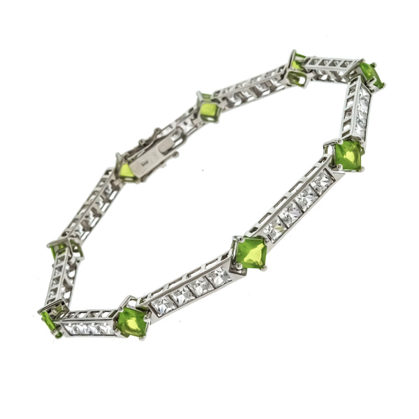 Peridot and White CZ Princess Cut Bracelet