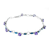 Blue Opal and Round Amethyst Bracelet