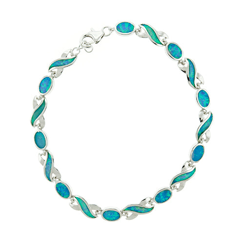 Blue Opal Oval and Infinity Bracelet