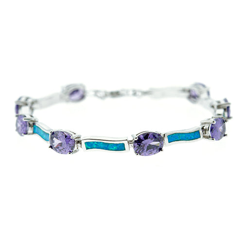 Blue Opal and Oval Amethyst Bracelet