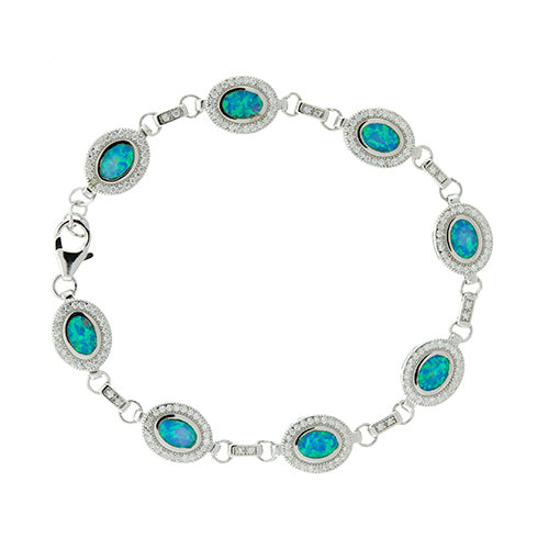 Blue Opal Oval and CZ Halo Bracelet