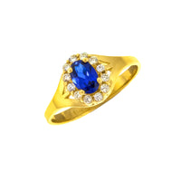 14K Oval CZ Halo Signet Ring