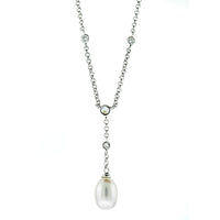 CZ Pearl Lariat Necklace