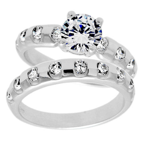 CZ Bubble Wedding Set