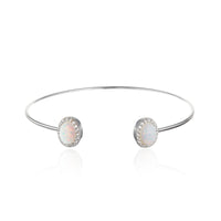White Opal and CZ Halo Cuff Bangle Bracelet