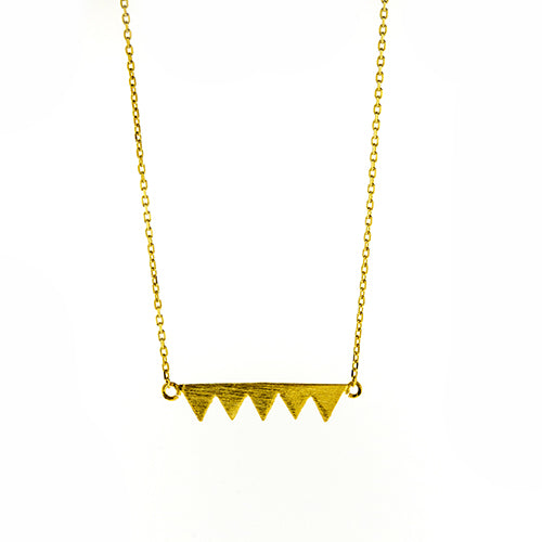 Gold Five Triangle Necklace