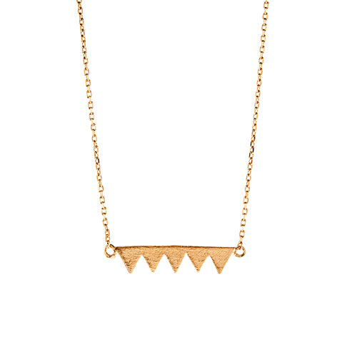 Rose Gold Five Triangle Necklace