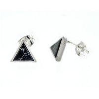 Black Marble Triangle Earrings