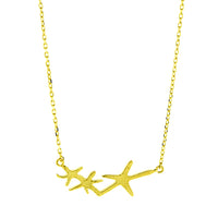 Gold Three Starfish Necklace